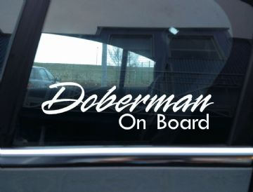 2x  Doberman On Board dog in car fancy warning STICKERS | Aufkleber | Pegatina | autocollant